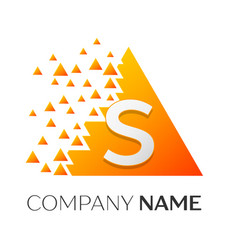 Letter s logo symbol on colorful triangle vector