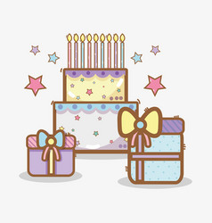 line cake with gifts birthday celebration vector image