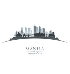 Manila philippines city skyline silhouette white vector