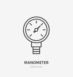 Manometer pressure flat line icon plumbing tool vector