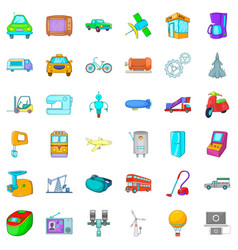Mechanistic icons set cartoon style vector