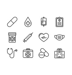 medical and healthcare icon set outline style vector image