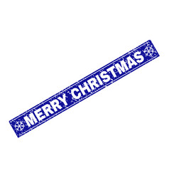 merry christmas grunge rectangle stamp seal with vector image