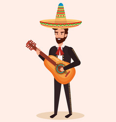 Mexican mariachi with guitar character vector