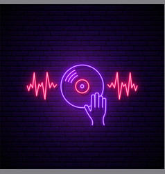 neon vinyl sign glowing with sound waves dj hand vector image
