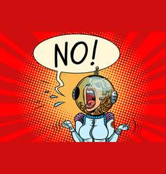 No screaming girl astronaut vector