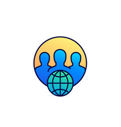 online community icon with outline vector image