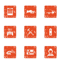 Parking locate icons set grunge style vector