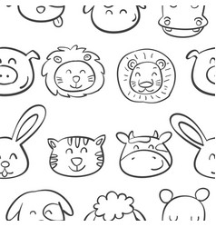 pattern animal head very cute vector image vector image