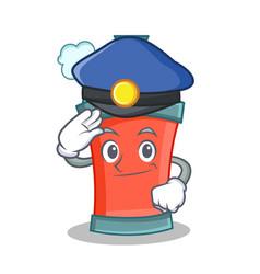 Police aerosol spray can character cartoon vector
