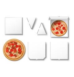 realistic blank white pizza cardboard box mockup vector image
