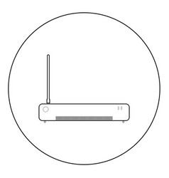 Router icon black color in circle or round vector