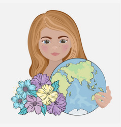 Save earth planet holiday party flower illu vector