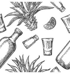 Seamless pattern of glass bottle tequila salt vector