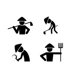 set farmer icons in simple style art vector image