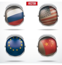 Set of Astronaut helmets with flags vector