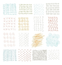 set of grungy hand drawn textures on white vector image