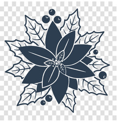 silhouette poinsettia flowers vector image