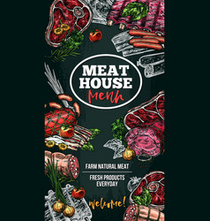 Sketch poster for meat house delicatessen vector