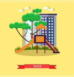 Slide concept in flat style vector