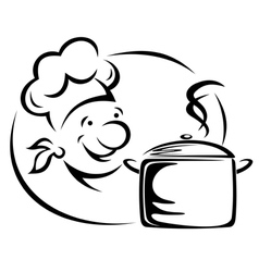 Smiling chef with saucepan vector