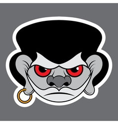 Sticker - evil pirate with red eyes and earrings vector