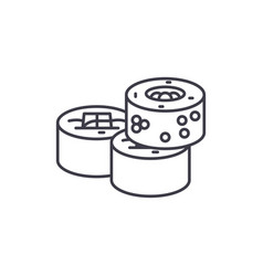 sushi rolls line icon concept sushi rolls vector image