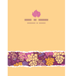 Sweet grape vines vertical torn border seamless vector