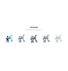 Teacher icon in different style two colored vector