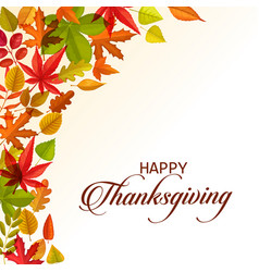thanksgiving day greeting card with leaves vector image