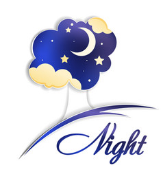 tree with moon clouds and night sky vector image