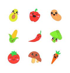 Vegetables cute kawaii characters vector
