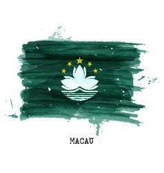 watercolor painting flag of macau vector image