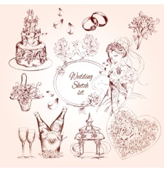 Wedding Sketch Set vector