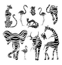 wild animals stylized wild animals vector image