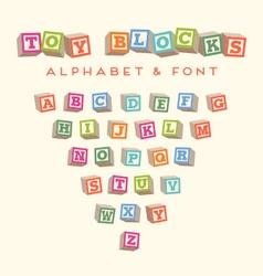 Alphabet blocks baby blocks font vector