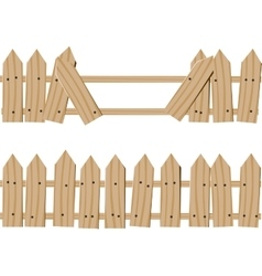 drawn wooden fence vector image vector image