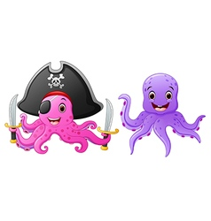 set of octopus cartoon vector image vector image