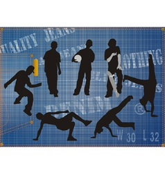 silhouettes of urban guys on blue jeans background vector image