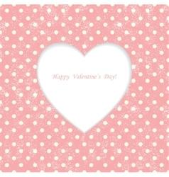 Card with heart shape on polka dot background vector
