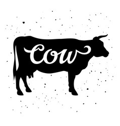 cow silhouette 005 vector image