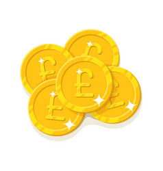 gold pounds coins cartoon style isolated vector image vector image