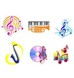 musical symbols emblems vector image vector image