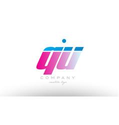 qu q u alphabet letter combination pink blue bold vector image vector image