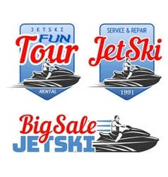Set of Jet Ski rental fun tour service and vector image