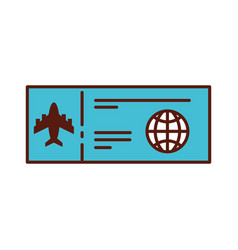 shadow airplane ticket cartoon vector image