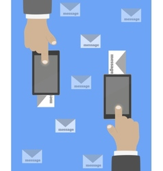 Smartphone in hand mail vector image