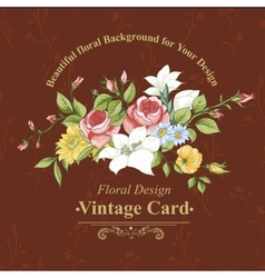 Vintage greeting card with flowers vector image vector image