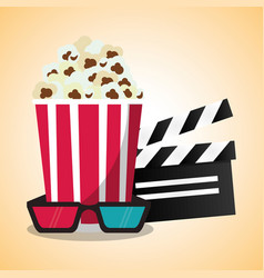 cinema pop corn clapper and 3d glasses vector image vector image