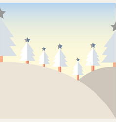 design christmas tree on mountain with snow vector image vector image